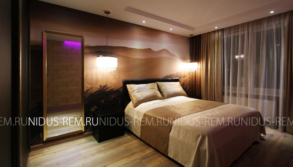 Спальня - Ремонт двухкомнатной квартиры в стиле эклектика